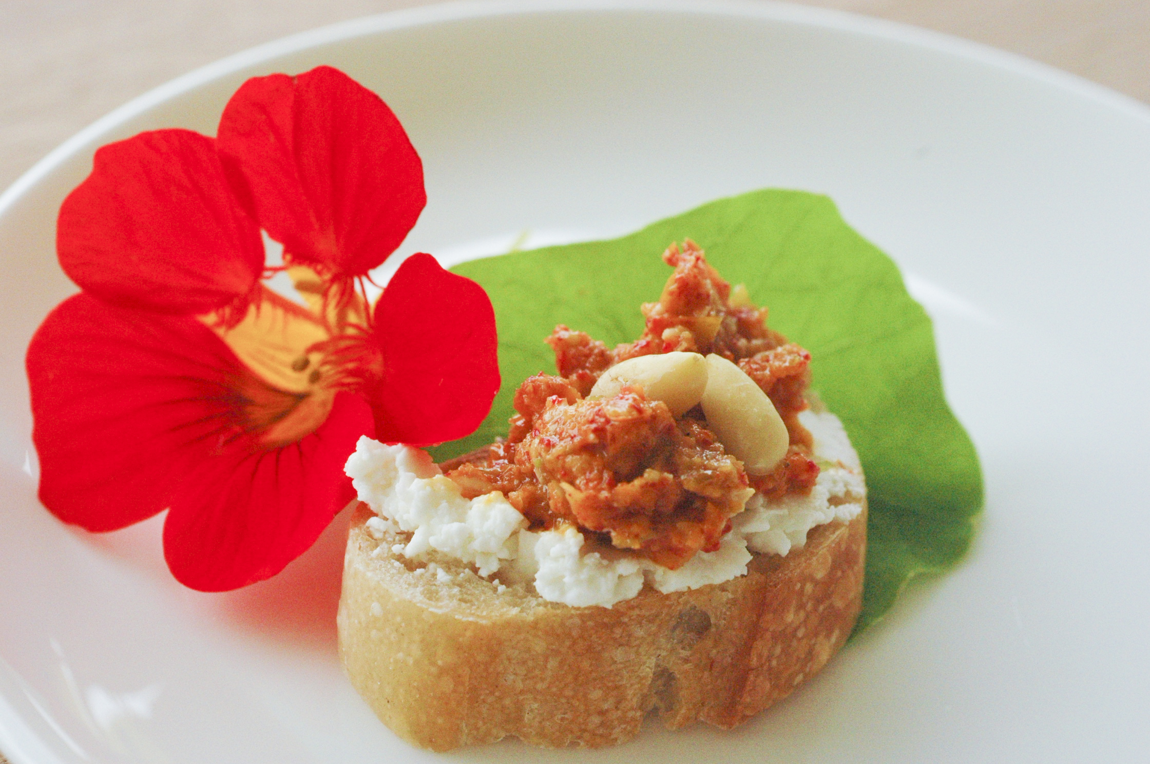 ... » Blog Archive » Nasturtium Pesto and Goat Cheese Crostini
